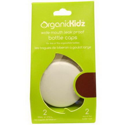 Organic Kidz, Wide Mouth Leak Proof Bottle Caps for 4 oz or 9 oz, White, 2 Bottle Caps