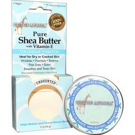 Out of Africa, Pure Shea Butter with Vitamin E, For Extreme Hydration, Unscented 56g