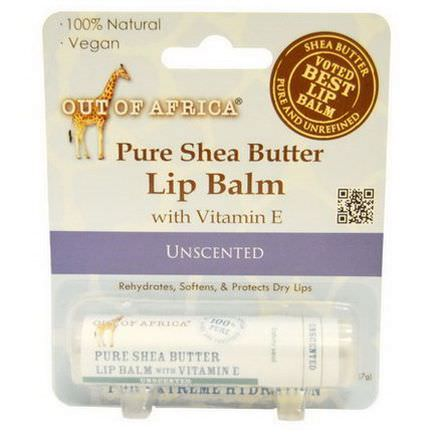 Out of Africa, Pure Shea Butter Lip Balm with Vitamin E, Unscented 7.0gm