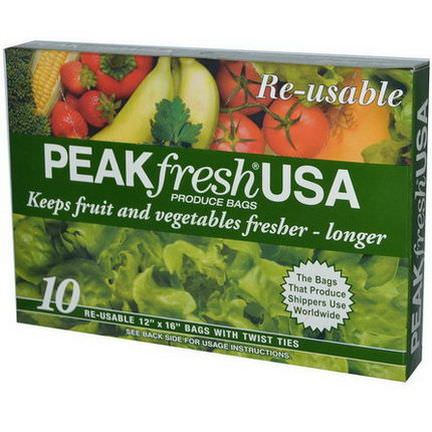 PEAKfresh USA, Produce Bags, Reusable, 10 - 12