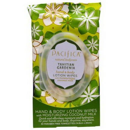 Pacifica, Hand&Body Lotion Wipes Tahitian Gardenia, 30 Biodegradable Towelettes