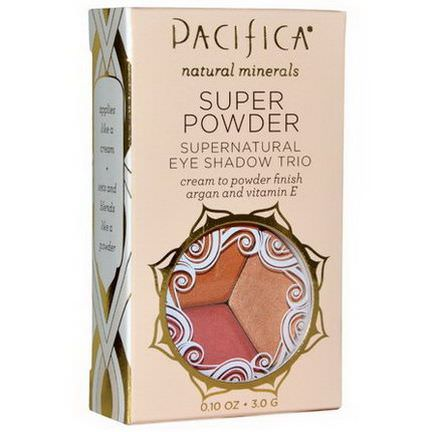 Pacifica, Super Powder Supernatural Eye Shadow Trio, Shades: Breathless, Glowing, Sunset 3.0g