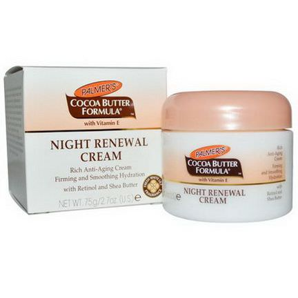 Palmer's, Cocoa Butter Formula, Night Renewal Cream, Fresh White Lily Fragrance 75g