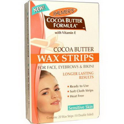 Palmer's, Cocoa Butter Formula, Wax Strips, For Face, Eyebrows and Bikini 10 Double Sided