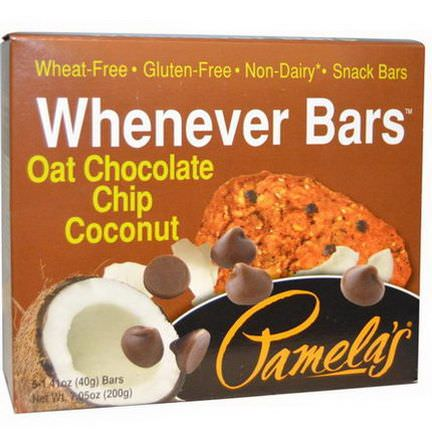 Pamela's Products, Whenever Bars, Oat Chocolate Chip Coconut, 5 Bars 40g Each