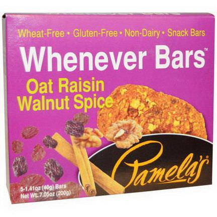 Pamela's Products, Whenever Bars, Oat Raisin Walnut Spice, 5 Bars 40g Each