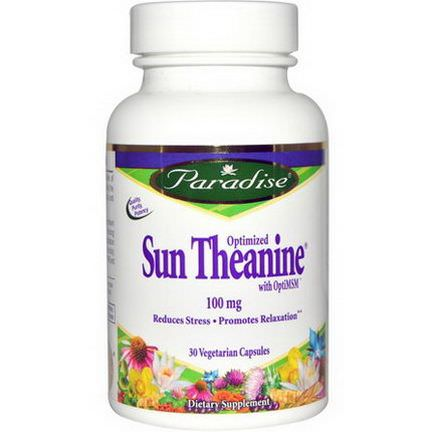 Paradise Herbs, Optimized Sun Theanine, 100mg, 30 Veggie Caps