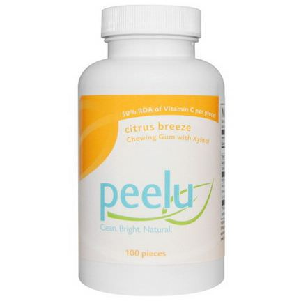 Peelu, Chewing Gum with Xylitol, Citrus Breeze, 100 Pieces