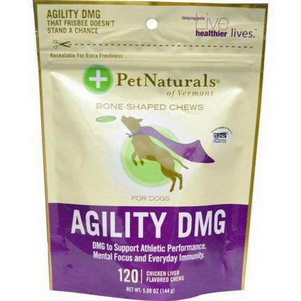 Pet Naturals of Vermont, Agility DMG For Dogs, Chicken Liver Flavored, 120 Chews 144g