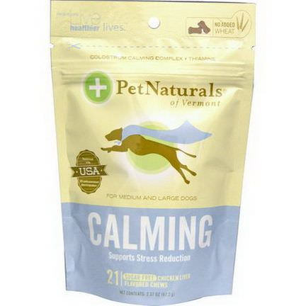 Pet Naturals of Vermont, Calming, For Medium and Large Dogs, Chicken Liver Flavored, Sugar Free, 21 Chews 67.2g