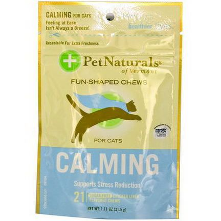 Pet Naturals of Vermont, Calming for Cats, Sugar Free, Chicken Liver Flavored, 21 Soft Chews