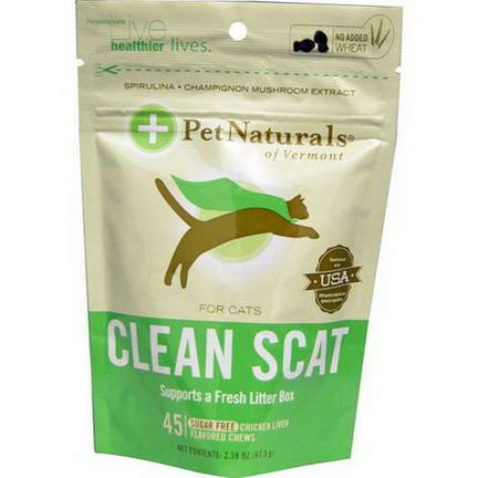 Pet Naturals of Vermont, Clean Scat for Cats, Chicken Liver Flavor, Sugar Free, 45 Chews 67.5g