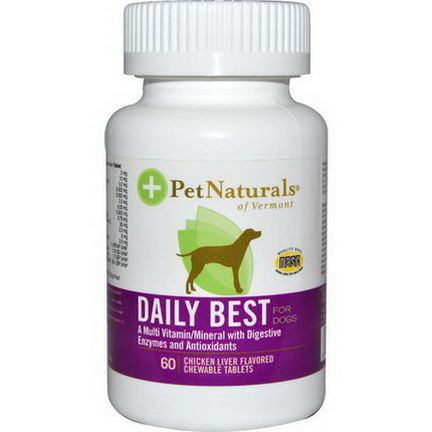 Pet Naturals of Vermont, Daily Best, Multi Vitamin/Mineral, For Dogs, Chicken Liver Flavored, 60 Chewable Tablets