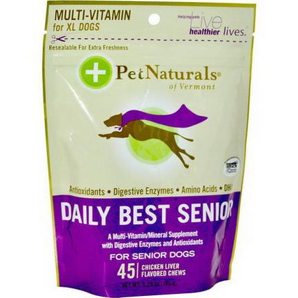 Pet Naturals of Vermont, Daily Best Senior, Chicken Liver Flavored, For Senior Dogs, 45 Chews