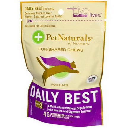 Pet Naturals of Vermont, Daily Best for Cats, Sugar-Free, Chicken Liver Flavored, 45 Chews 56.25g
