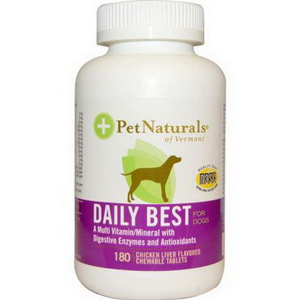 Pet Naturals of Vermont, Daily Best for Dogs, Chicken Liver Flavored, 180 Chewable Tablets