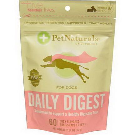 Pet Naturals of Vermont, Daily Digest For Dogs, 60 Duck Flavored Bone-Shaped Chews 72g
