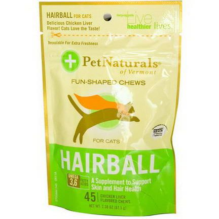 Pet Naturals of Vermont, Hairball for Cats, 45 Chicken Liver Flavored Chews 67.5g