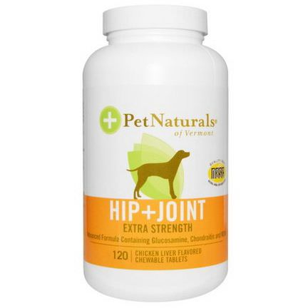 Pet Naturals of Vermont, Hip Joint, Extra Strength, For Dogs, Chicken Liver Flavored, 120 Chewable Tablets