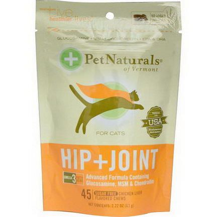 Pet Naturals of Vermont, Hip Joint For Cats, Chicken Liver Flavored, Sugar Free, 45 Chews 63g