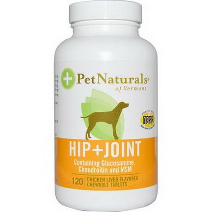 Pet Naturals of Vermont, Hip Joint, For Dogs, Chicken Liver Flavored, 120 Chewable Tablets