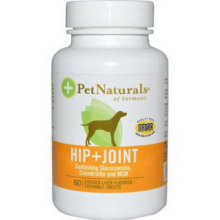 Pet Naturals of Vermont, Hip Joint, For Dogs, Chicken Liver Flavored, 60 Chewable Tablets