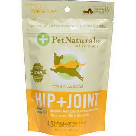 Pet Naturals of Vermont, Hip Joint for Small Dogs, Chicken Liver Flavored, Sugar Free, 45 Chews 63g