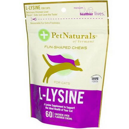 Pet Naturals of Vermont, L-Lysine for Cats, Chicken Liver, 60 Chews