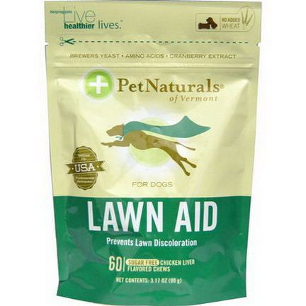 Pet Naturals of Vermont, Lawn Aid for Dogs, Chicken Liver Flavor, Sugar Free, 60 Chews 90g