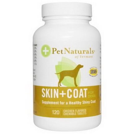 Pet Naturals of Vermont, Skin Coat, For Dogs, Chicken Flavored, 120 Chewable Tablets