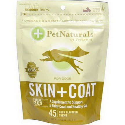 Pet Naturals of Vermont, Skin Coat For Dogs, Duck Flavored, 45 Chews 157.5g