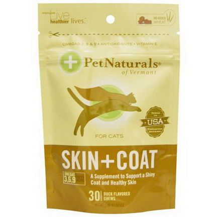 Pet Naturals of Vermont, Skin Coat for Cats, 30 Duck Flavored Chews 52.5g