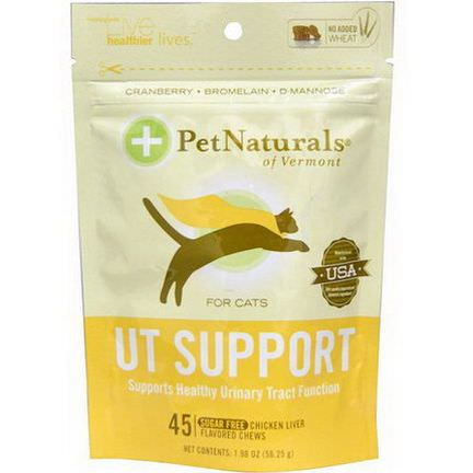 Pet Naturals of Vermont, UT Support for Cats, Chicken Liver Flavored, Sugar Free, 45 Chews 56.25g