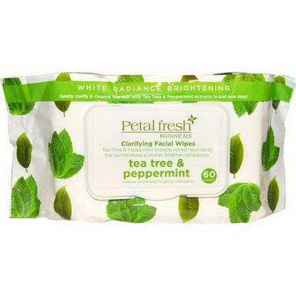 Petal Fresh, Clarifying Facial Wipes, Tea Tree&Peppermint, 60 Wipes