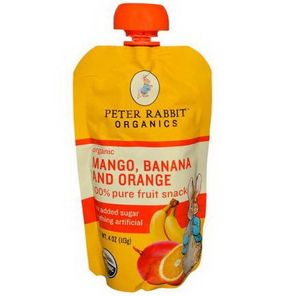 Peter Rabbit Organics, Organic, 100% Pure Fruit Snack, Mango, Banana and Orange 113g