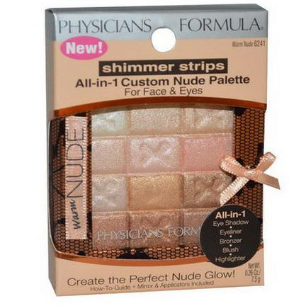 Physician's Formula, Inc. Shimmer Strips, All-in-1 Custom Nude Palette, Warm Nude 7.5g
