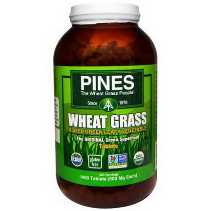 Pines International, Organic Pines Wheat Grass, 500mg, 1400 Tablets