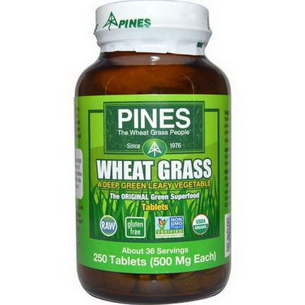 Pines International, Wheat Grass, 500mg, 250 Tablets