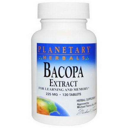 Planetary Herbals, Bacopa Extract, 225mg, 120 Tablets