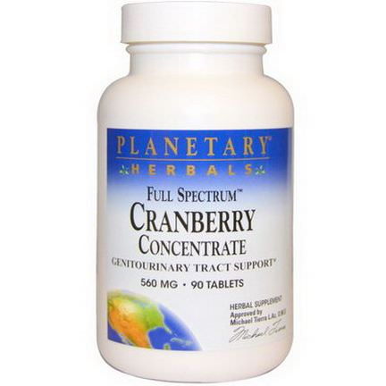 Planetary Herbals, Cranberry Concentrate, Full Spectrum, 560mg, 90 Tablets