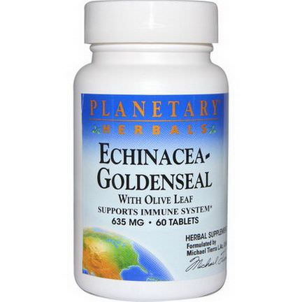 Planetary Herbals, Echinacea-Goldenseal with Olive Leaf, 635mg, 60 Tablets