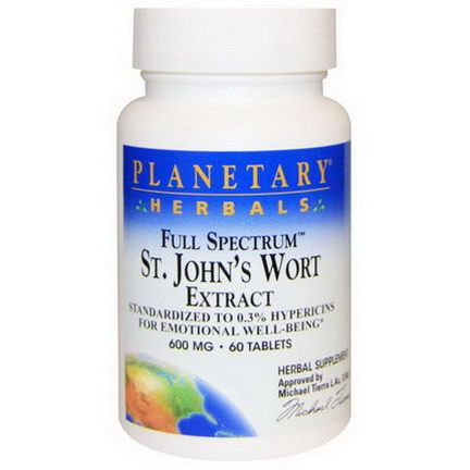 Planetary Herbals, Full Spectrum St. John's Wort Extract, 600mg, 60 Tablets