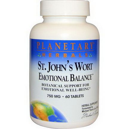 Planetary Herbals, St. John's Wort, Emotional Balance, 750mg, 60 Tablets