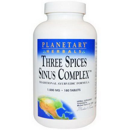Planetary Herbals, Three Spices Sinus Complex, 1,000mg, 180 Tablets