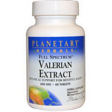 Planetary Herbals, Valerian Extract, Full Spectrum, 650mg, 60 Tablets