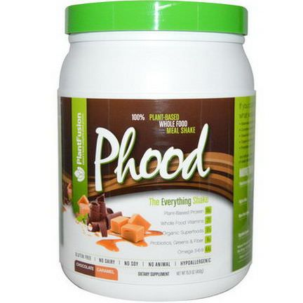 PlantFusion, Phood, 100% Plant-Based Whole Food Meal Shake, Chocolate Caramel 450g