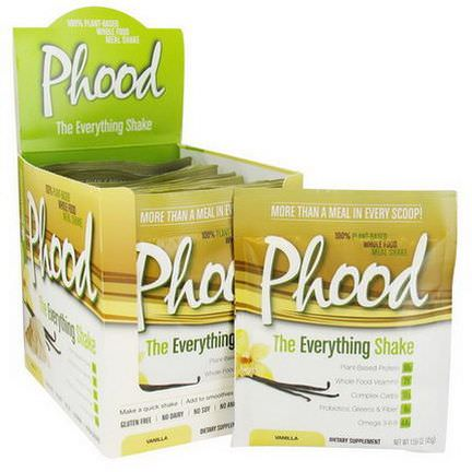 PlantFusion, Phood Shake, 100% Plant-Based Whole Food Meal Shake, Vanilla, 12 Packets 45g Each