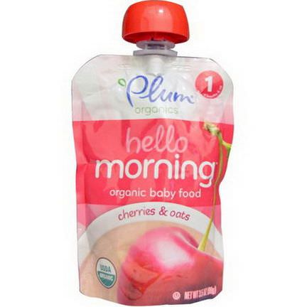Plum Organics, Hello Morning, Organic Baby Food, Cherries&Oats 99g