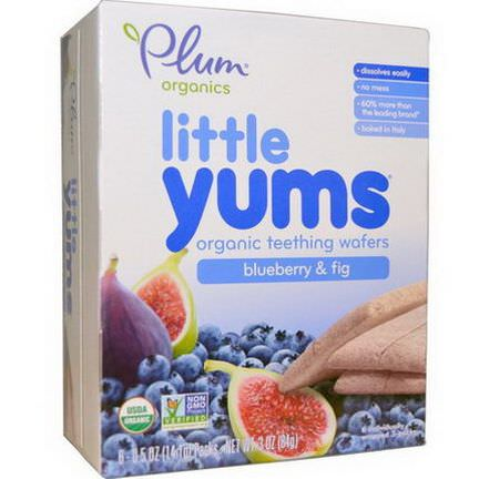 Plum Organics, Little Yums, Organic Teething Wafers, Blueberry&Fig, 6 Packs 14.1g Each