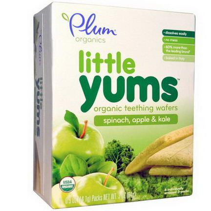 Plum Organics, Little Yums, Organic Teething Wafers, Spinach, Apple&Kale, 6 Packs 14.1g Each